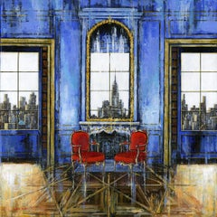 Blue Saloon NY original Landscape interior painting - Contemporary Art