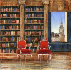 Elegance London original Interior cityscape oil painting contemporary art 21st C