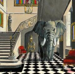 Elephant and Castle - original city wildlife oil painting contemporary art