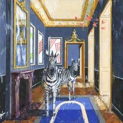 Finding Oasis - original city wildlife oil painting contemporary art