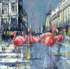Flamingos in Paris - cityscape wildlife animal painting contemporary 21st