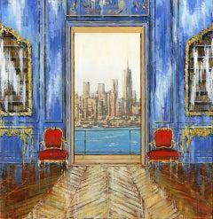 Manhattan Bay - NY original cityscape interior painting contemporary art 2st C