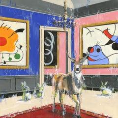 Master & The 3 Rabbits - original city wildlife oil painting contemporary art