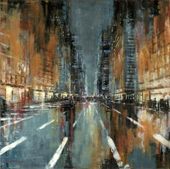 NYC Perspective - original USA Landscape cityscape painting Contemporary Art