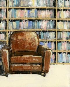 Oscar - original Interior library cityscape painting Contemporary Art