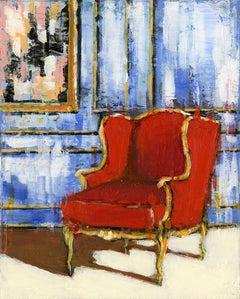 Red Bergere - original Interior landscape cityscape painting Contemporary Art
