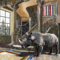 Rhino of NY - original city wildlife oil painting contemporary art