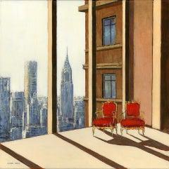 Scenic Manhattan - original cityscape interior painting contemporary art 2st C
