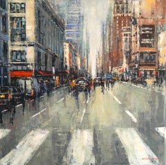 South on 6th Street - NYC original Cityscape buildings painting Contemporary Art