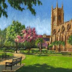 St Luke's Garden - cityscape London nature painting contemporary 21st