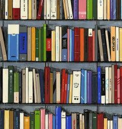 Story Telling  I - original still life library oil painting contemporary art