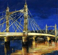 The Albert Bridge by Night - cityscape landscape London painting contemporary