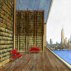 View of the Bay NYC - Interior painting Contemporary Art 21st Century