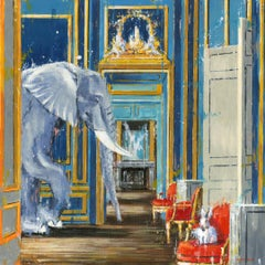 Waltz Around the Room-original wildlife elephant interior-oil painting-21st cent