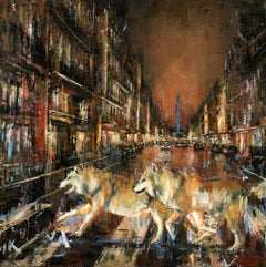 Wolves of Vendome - cityscape nature animal painting contemporary art 21st