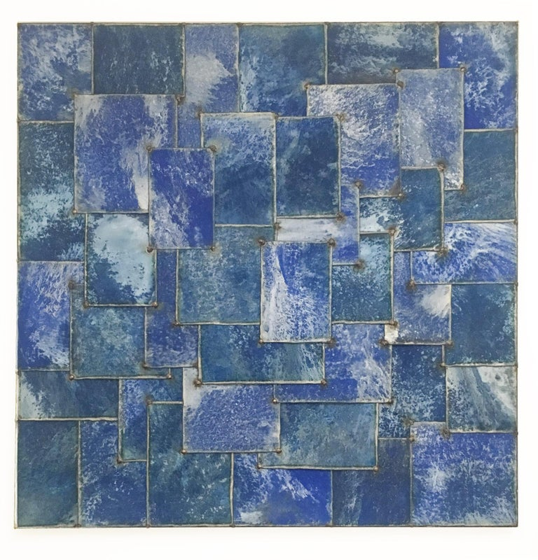 Mixed Blue (Geometric Abstraction on Galvanized Steel by Nathan Slate Joseph) 1