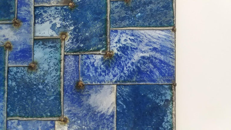 Mixed Blue (Geometric Abstraction on Galvanized Steel by Nathan Slate Joseph) 4