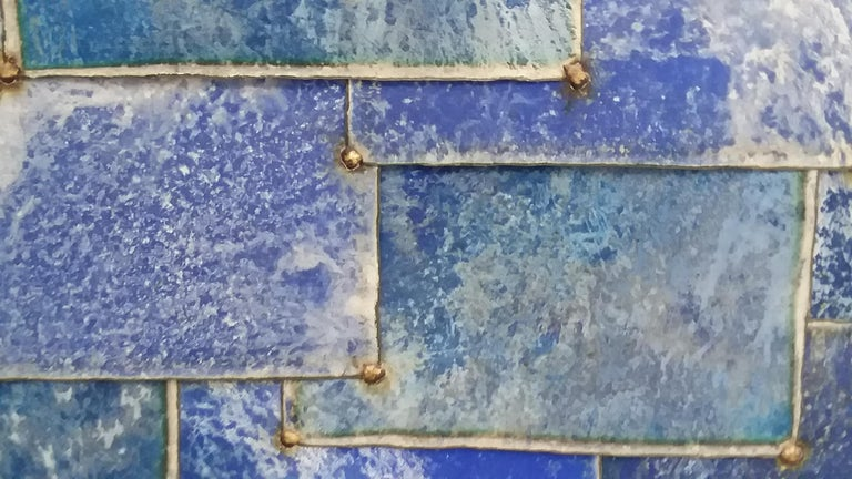Mixed Blue (Geometric Abstraction on Galvanized Steel by Nathan Slate Joseph) 5