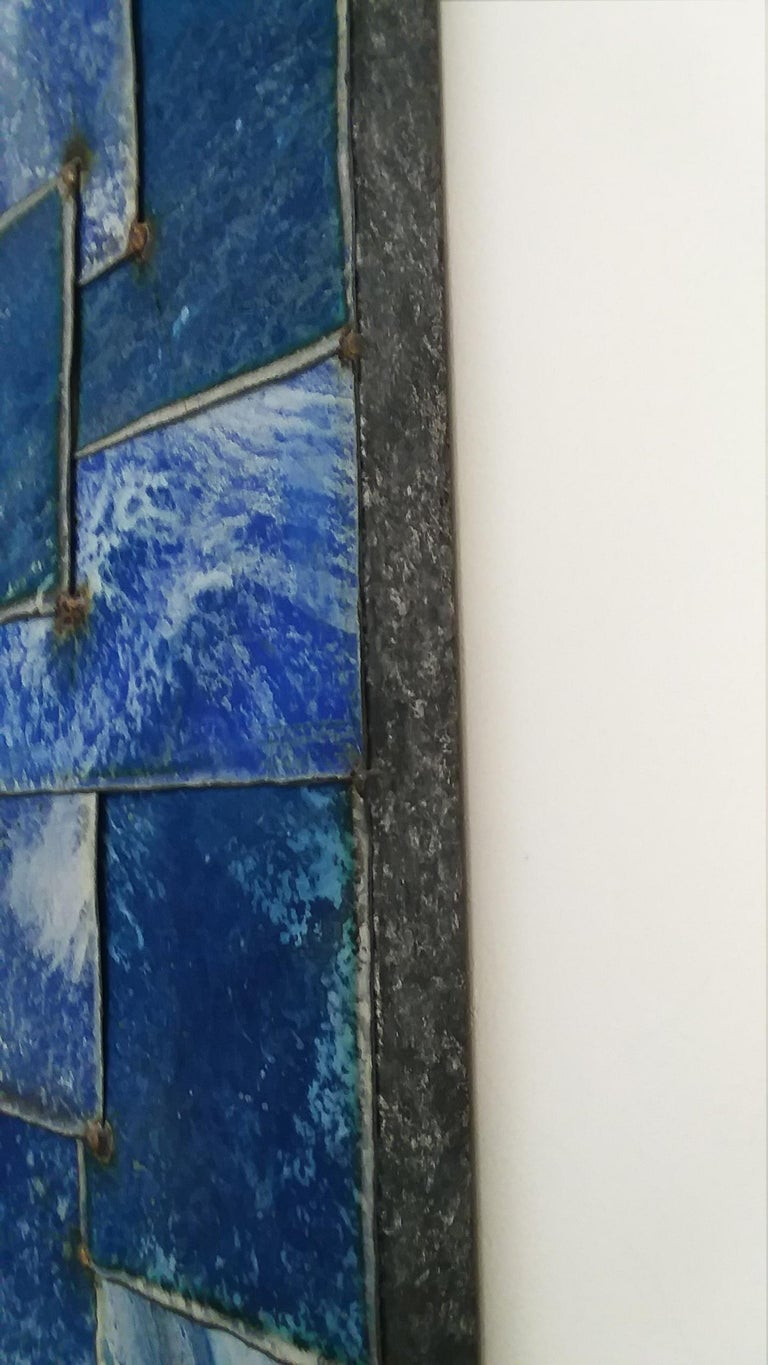 Mixed Blue (Geometric Abstraction on Galvanized Steel by Nathan Slate Joseph) 6