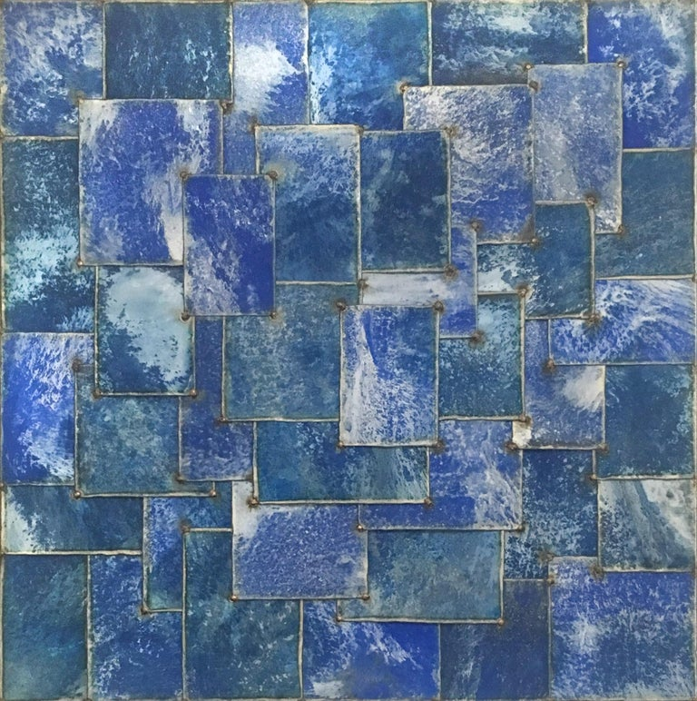 """""""Mixed Blue"""", 2006 48 x 48 x 2 inches steel, pure pigment Signature on Verso  Sculptor and artist Nathan Slate Joseph is renowned for his unique process of creating dynamic, abstract compositions of galvanized steel. The Israeli-born artist produces"""