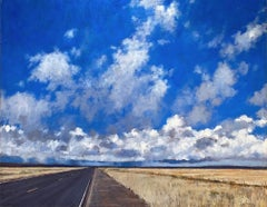 No More Speed, I'm Almost There! (Open road, adventure, moody sky, puffy clouds)