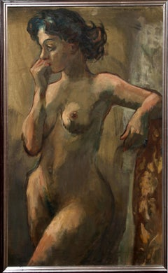 Pensive Nude, Oil Painting by Nathan Wasserberger
