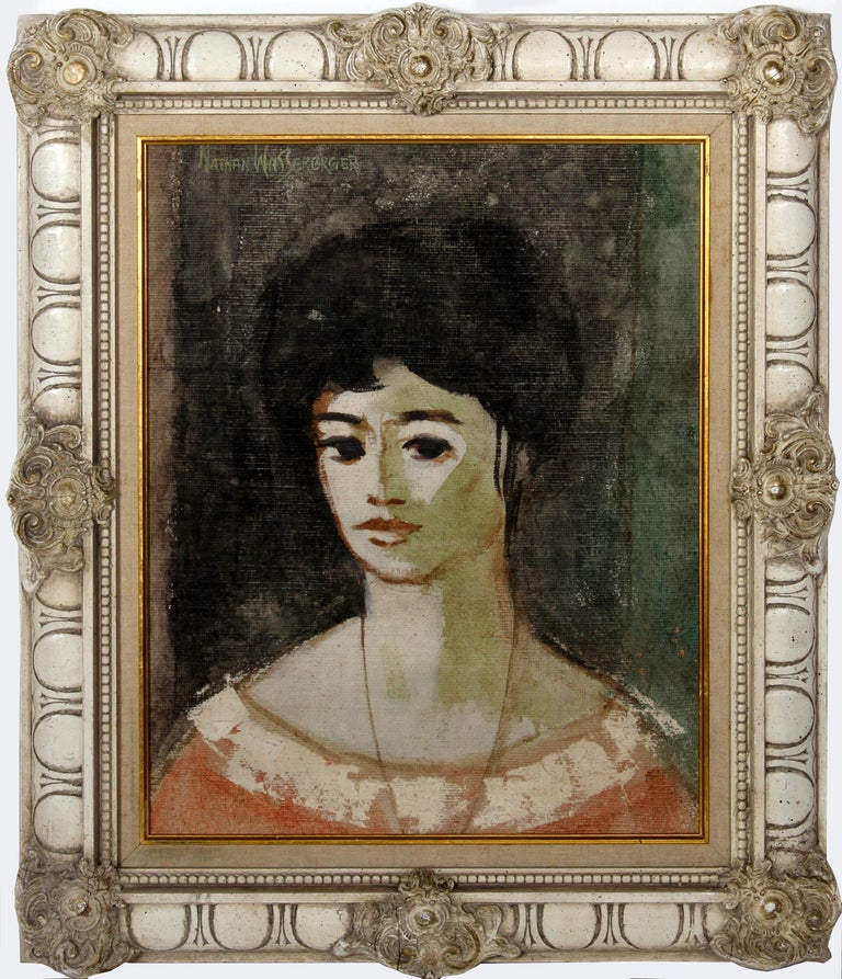 Artist: Nathan Wasserberger, Polish/American (1928 - 2012) Title: Portrait of Woman Year: circa 1960 Medium: Oil on Canvas, signed u.l. Size: 24 in. x 20 in. (60.96 cm x 50.8 cm) Frame Size: 27 x 23 inches