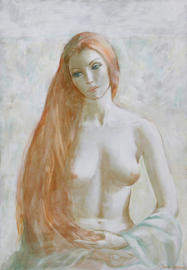 Artist: Nathan Wasserberger, Polish/American (1928 - 2012) Title: Blonde Nude Year: circa 1960 Medium: Oil on Canvas, signed l.r. Image: 46 in. x 32 in. (116.84 cm x 81.28 cm)