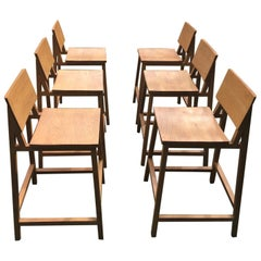 Set of 6 Nathan Yong for Ethnicraft Oak N3 Counter, Bar Stools / Chairs