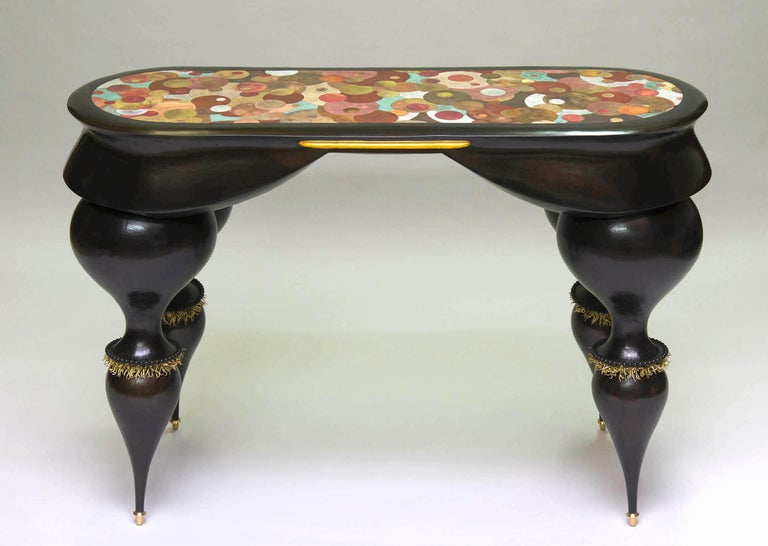 French Nathanaël Le Berre 2018, Unique Table Tintoretto, Hammered Copper For Sale