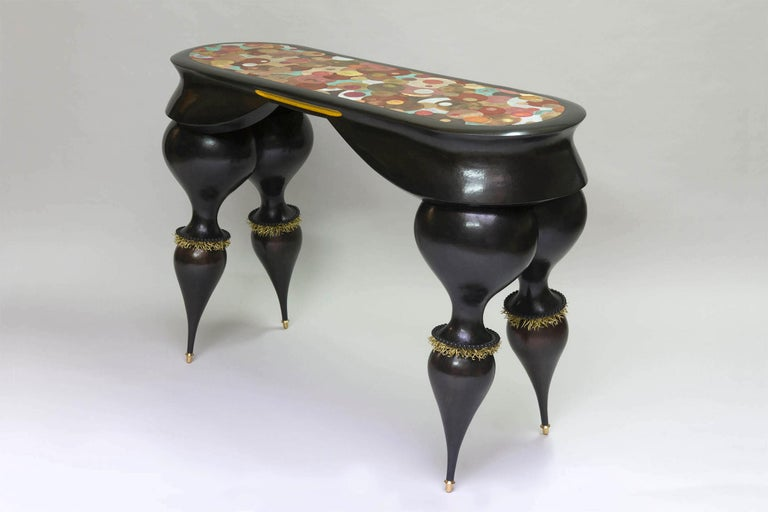 Nathanaël Le Berre 2018, Unique Table Tintoretto, Hammered Copper In New Condition For Sale In Paris, FR