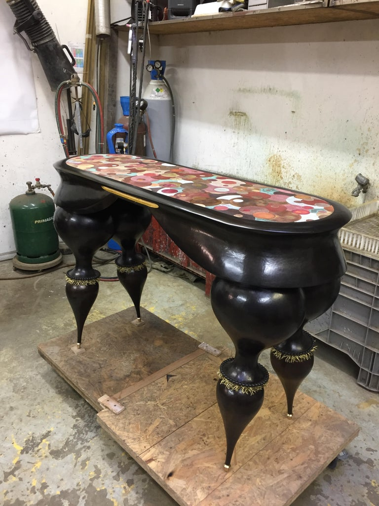 Contemporary Nathanaël Le Berre 2018, Unique Table Tintoretto, Hammered Copper For Sale