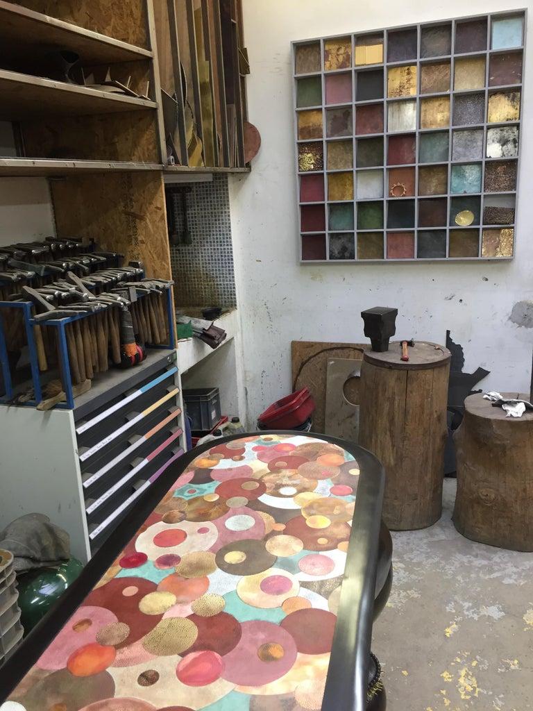 Nathanaël Le Berre 2018, Unique Table Tintoretto, Hammered Copper For Sale 2