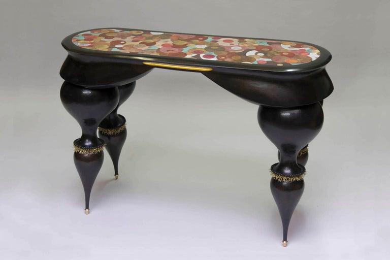 Nathanaël Le Berre 2018, Unique Table Tintoretto, Hammered Copper For Sale 3