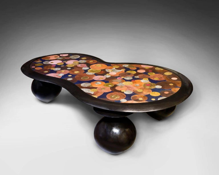French Nathanaël Le Berre 2019, Unique Hammerd Copper Table Al'inbïq For Sale