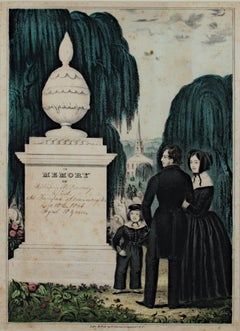 'In Memory of William W. Peabody' original hand-colored lithograph by N. Currier