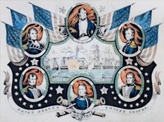 'Naval Heroes of the United States' hand-colored lithograph by Nathaniel Currier
