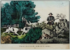 'Partridge Shooting' original hand-colored lithograph by Nathaniel Currier