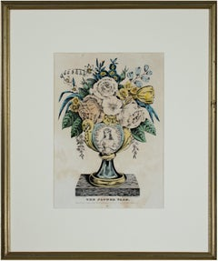 'The Flower Vase' original hand-colored lithograph by Nathaniel Currier