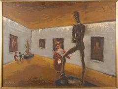 "Vintage American School Museum Interior ""Studying Anatomy"" Humorous Oil Painting"