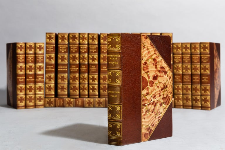 22 volumes.  Large paper edition.  Limited to 500 copies, this is #35. Bound in 3/4 tan Morocco, marbled boards Top edges gilt, raised bands, gilt panels. Illustrated.  Published: Boston and New York: Houghton Mifflin & Co.