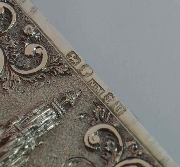 Nathaniel Mills Castle Top Solid Silver Victorian Card Case the Scott Memorial For Sale 6