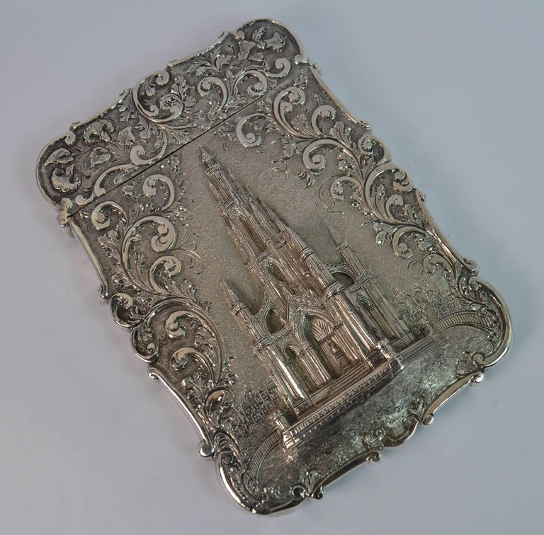 Nathaniel Mills Castle Top Solid Silver Victorian Card Case the Scott Memorial In Good Condition For Sale In St Helens, GB