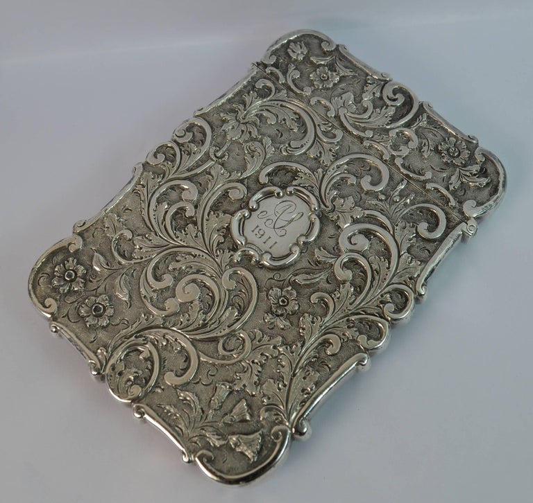 Women's or Men's Nathaniel Mills Castle Top Solid Silver Victorian Card Case the Scott Memorial For Sale