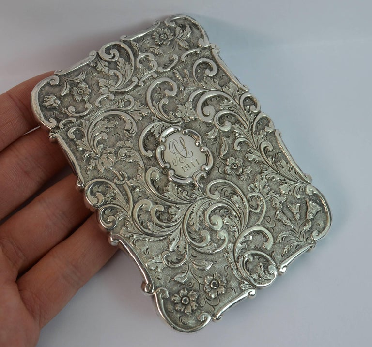 Nathaniel Mills Castle Top Solid Silver Victorian Card Case the Scott Memorial For Sale 1