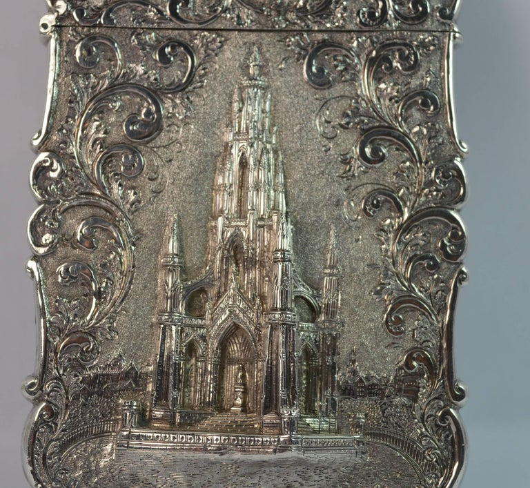 Nathaniel Mills Castle Top Solid Silver Victorian Card Case the Scott Memorial For Sale 4