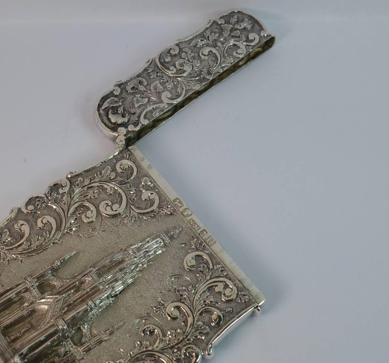 Nathaniel Mills Castle Top Solid Silver Victorian Card Case the Scott Memorial For Sale 5