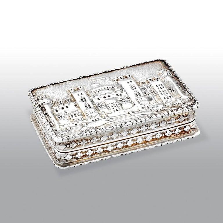 British Nathaniel Mills Victorian Silver Gilt Castle-Top Vinaigrette, Windsor Castle For Sale