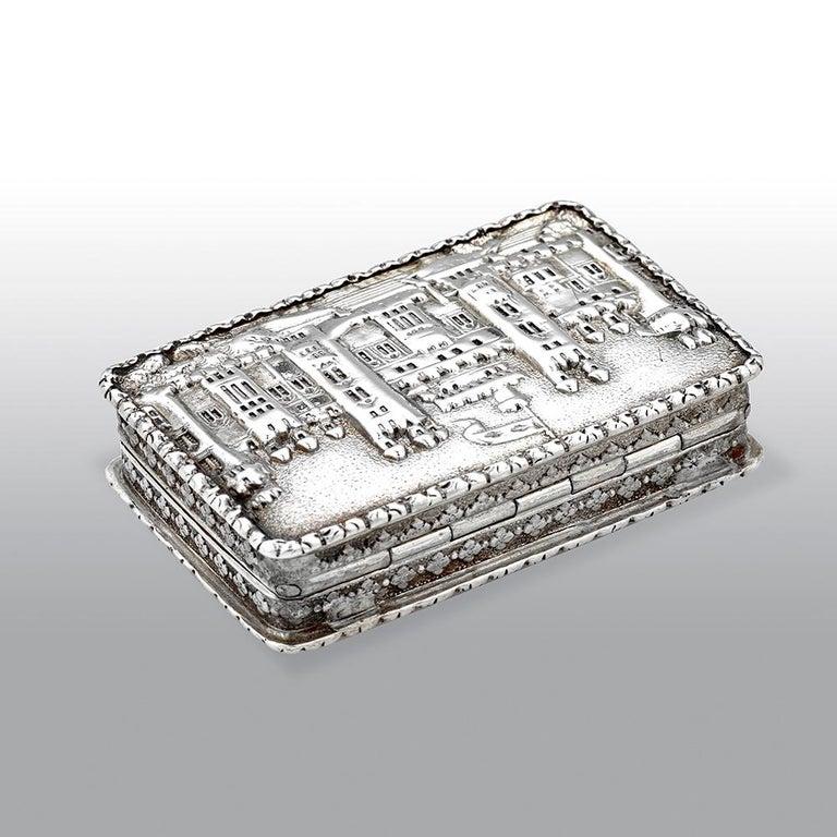 Engraved Nathaniel Mills Victorian Silver Gilt Castle-Top Vinaigrette, Windsor Castle For Sale