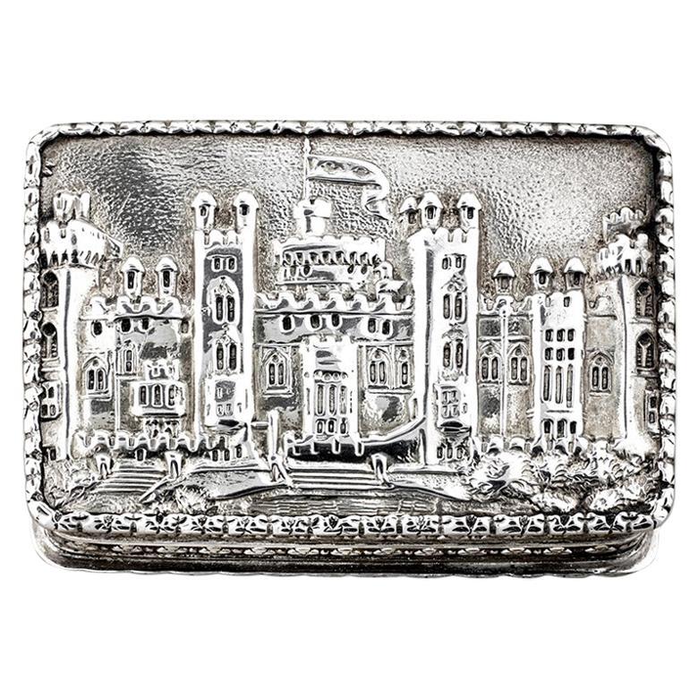 Nathaniel Mills Victorian Silver Gilt Castle-Top Vinaigrette, Windsor Castle